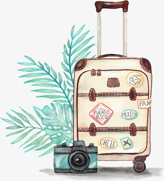 水彩手绘行李箱拉杆箱