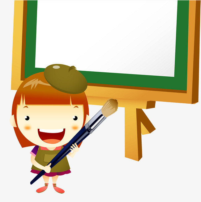 卡通 画板 水粉笔 绘画班 卡通人物 水粉 蓝色 创作 彩色 手绘png