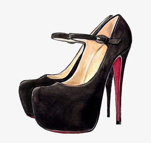 90设计提供高清png手绘动漫素材免费下载,本次水彩高跟鞋作品为设计师