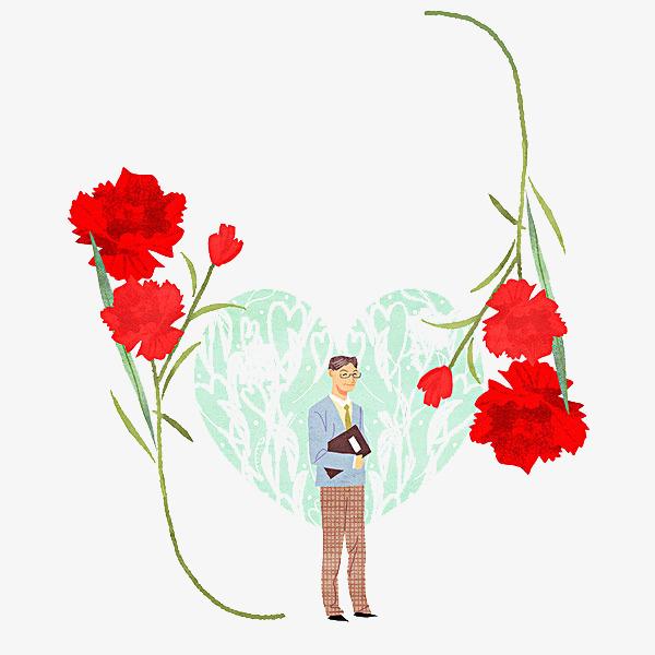 手绘红色的花卡通简笔男人红色的帅气的花朵心形-手绘红色的花素材