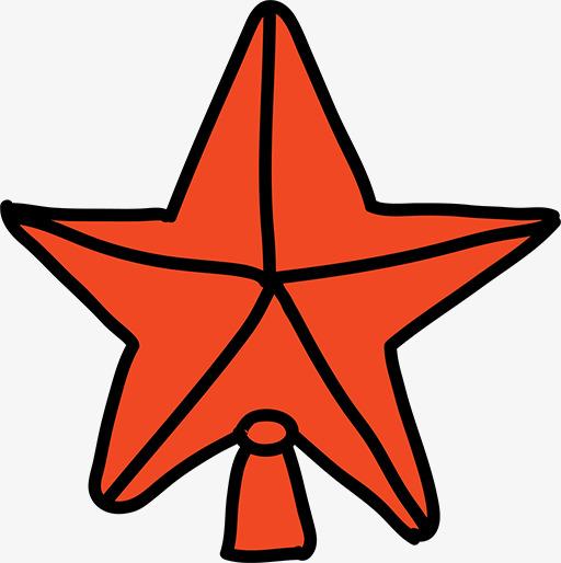 手绘红色五角星