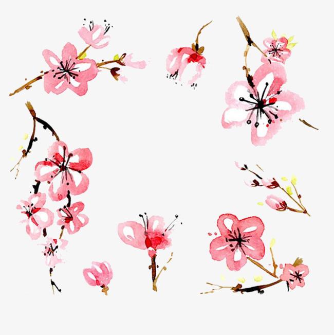 可爱手绘樱花树免扣素材