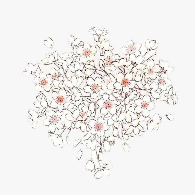 手绘樱花树免扣素材