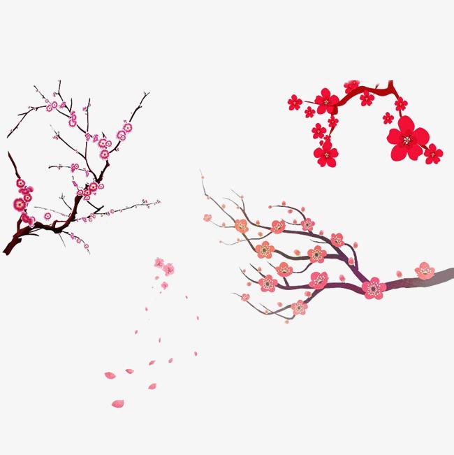 简约手绘樱花树免扣素材