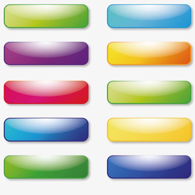 矢量手绘彩色按钮长方形图标