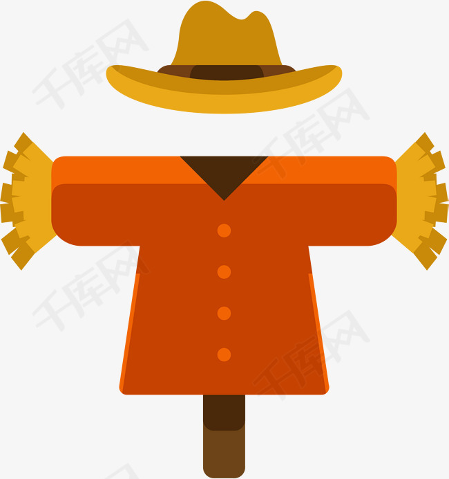 稻草人图标卡通图标农田图标稻草人麦田里的守望者卡通红衣服麦田稻草人