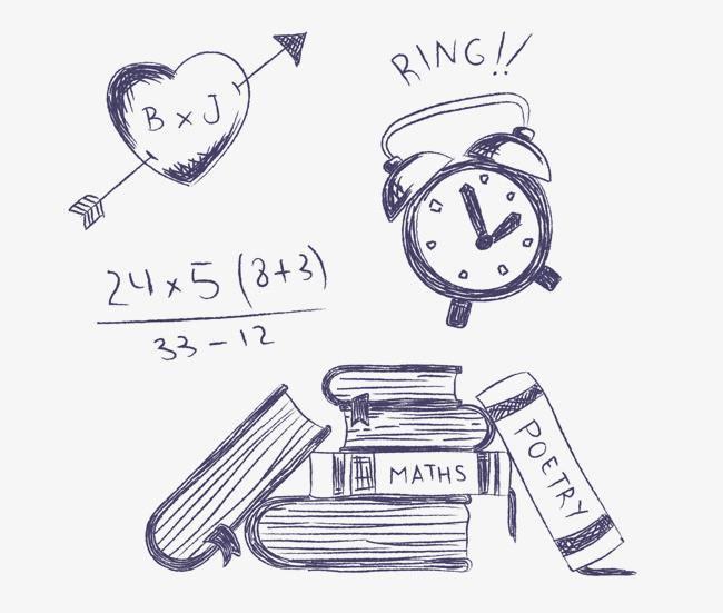 粉笔手绘书包闹钟素材