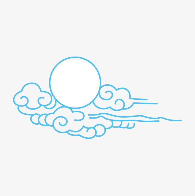 圆形 蓝色 简笔 线条 云朵 太阳 卡通 手绘免扣素材