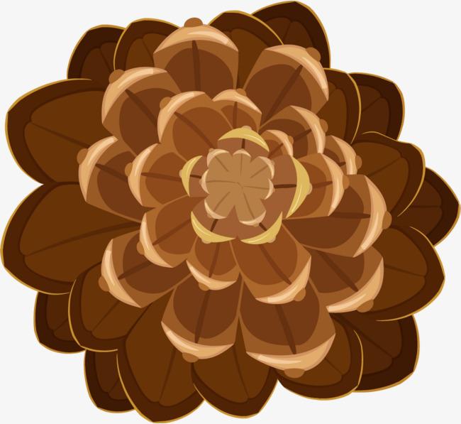 卡通棕色花朵图片