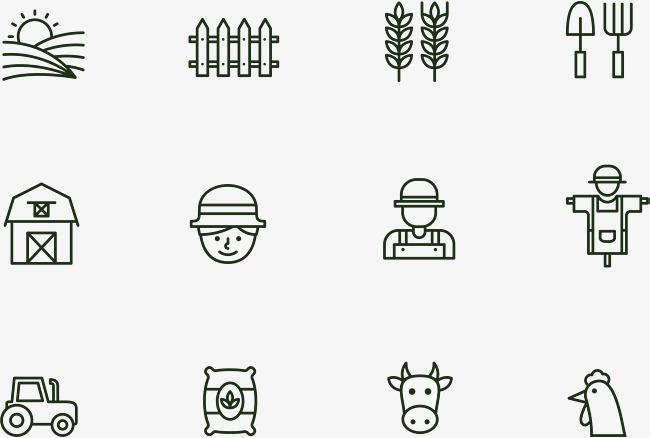 农场农夫图标农田农场农夫稻草人拖拉机最奶牛公鸡锄头栅栏图标麦田稻草人