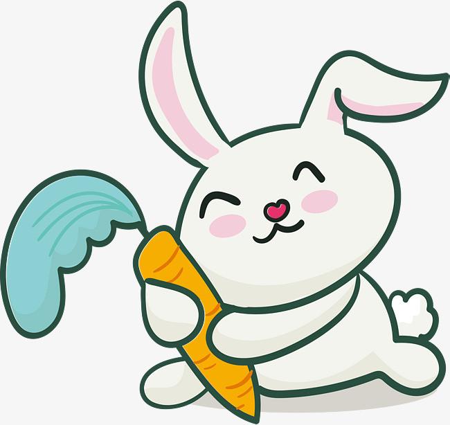 抱着胡萝卜的小兔子