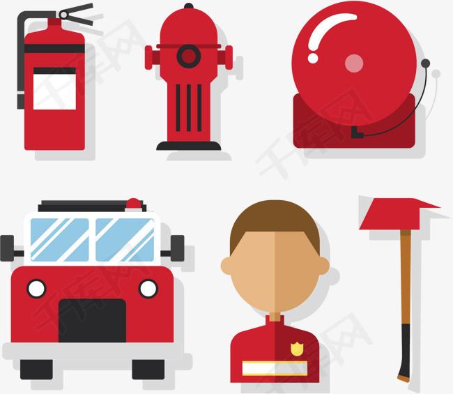 标消防员救火员卡通消防安全消防救援警报铃灭火器消防栓火灾消防