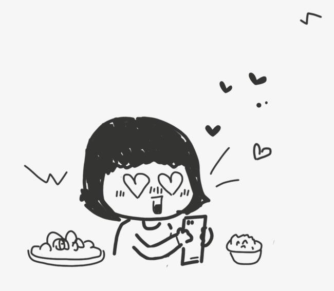 花痴女孩吃饭手绘图手绘可爱花痴爱情喜欢脸红漫画线稿简笔画夸张搞
