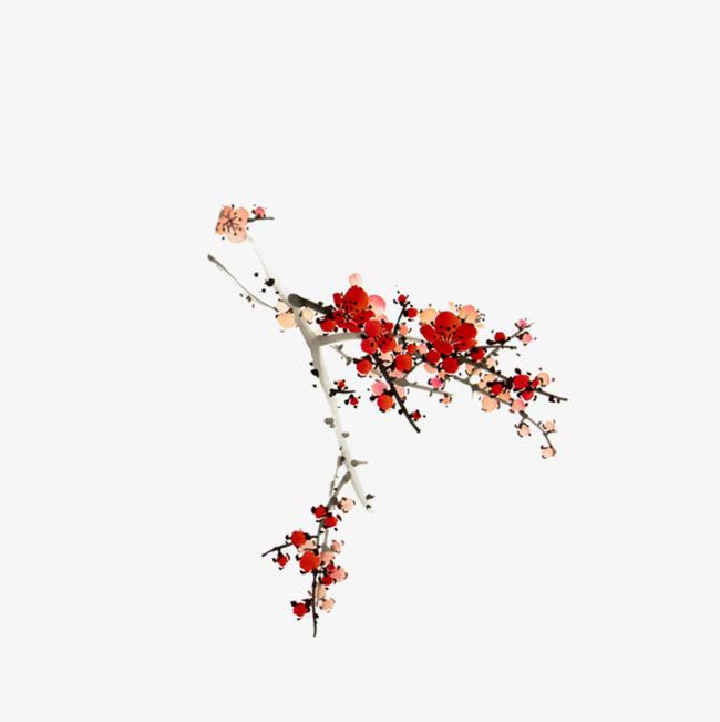 手绘彩色梅花