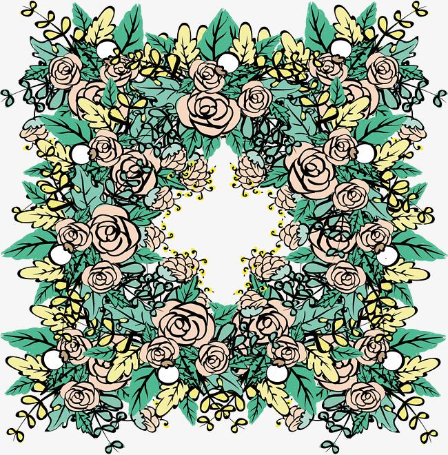 堆满的手绘玫瑰花矢量png玫瑰花手绘风手绘玫瑰玫瑰花丛浪漫玫瑰花