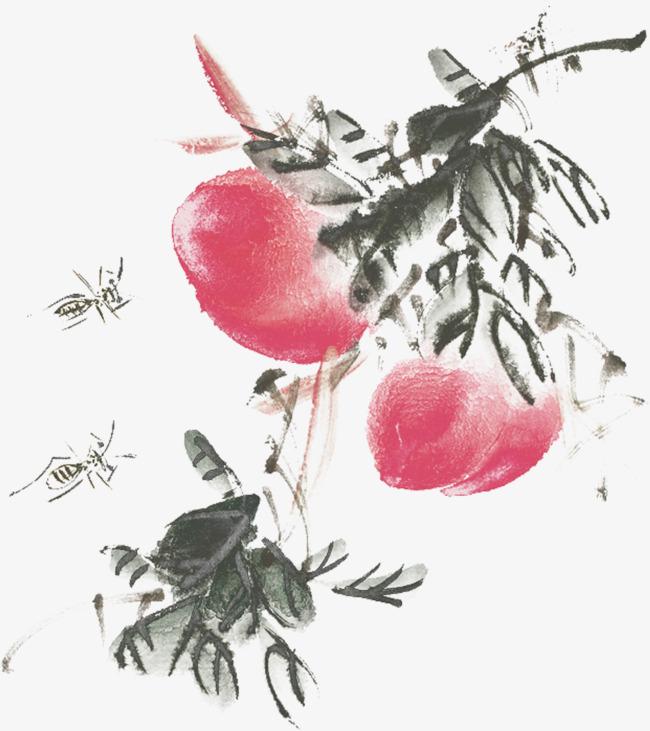 桃子水墨画