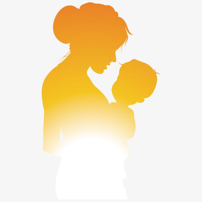 妈妈和孩子人物剪影