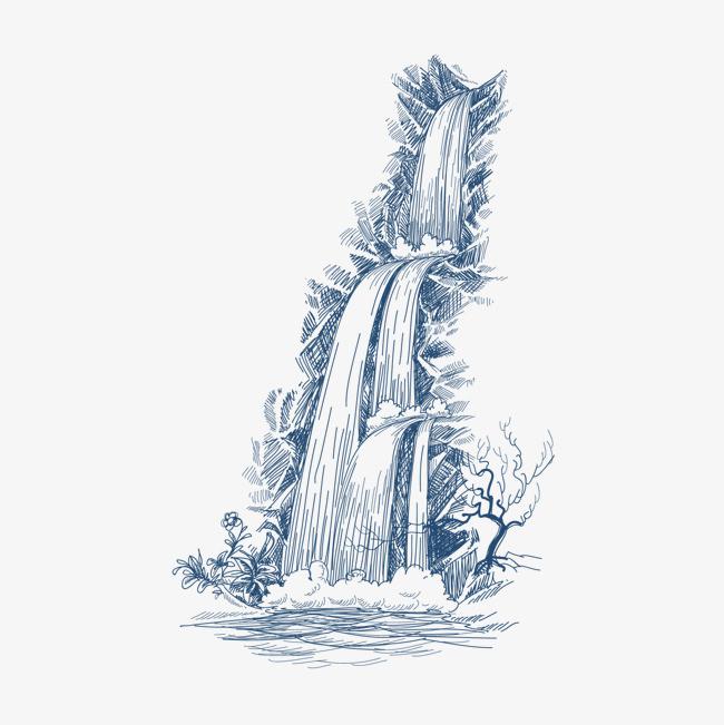 装饰图案 手绘 瀑布