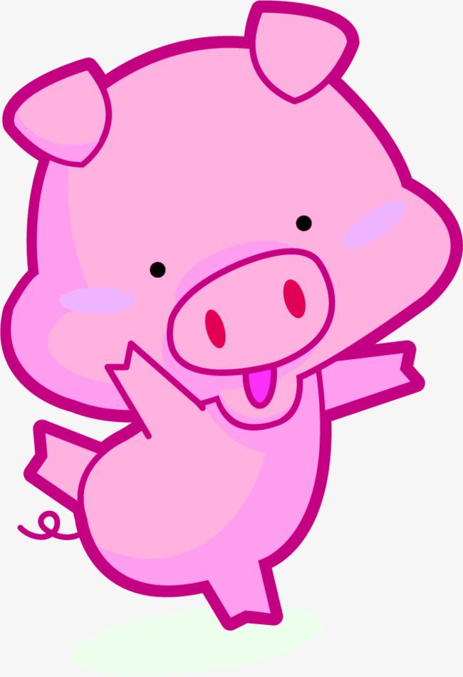 手绘可爱粉色小猪