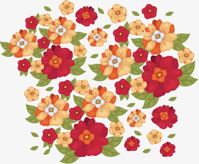 手绘彩色鲜花花丛