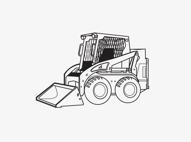 手绘铲土车
