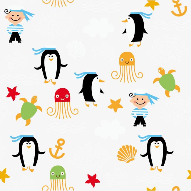 矢量手绘海洋生物海报