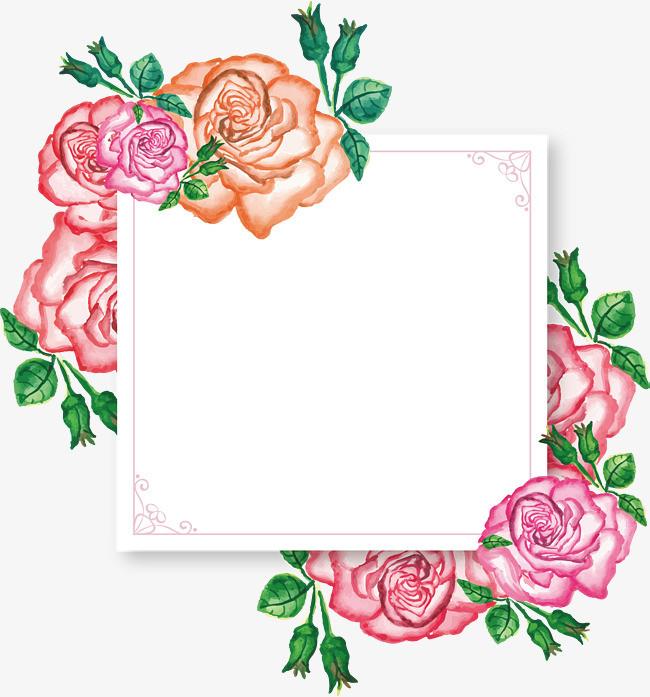 水彩手绘花朵标题框