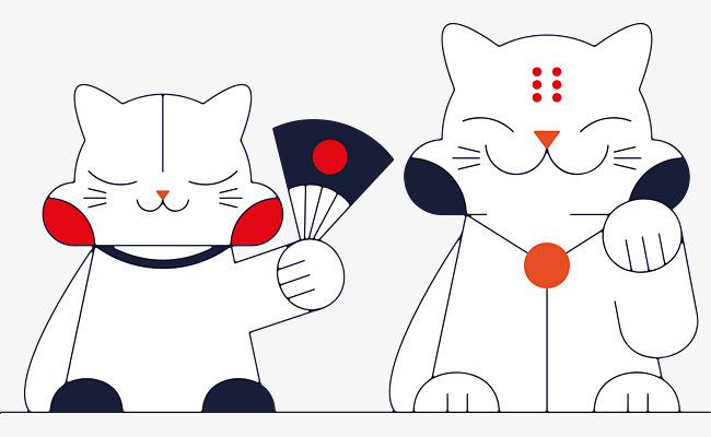 手绘日系风格猫咪