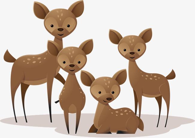 矢量手绘小鹿一家人
