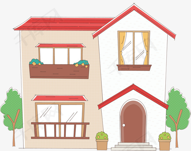 矢量手绘房屋房屋矢量图手绘图简单创意彩色图卡通可爱-矢量手绘房