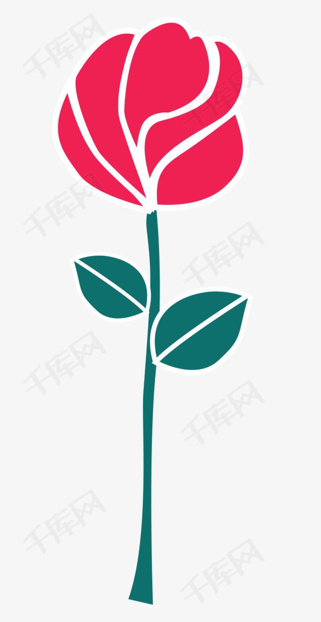 一只矢量玫瑰花图浪漫花朵鲜花花玫瑰玫瑰花玫瑰简笔简笔画玫瑰矢量玫瑰卡通玫瑰红玫瑰