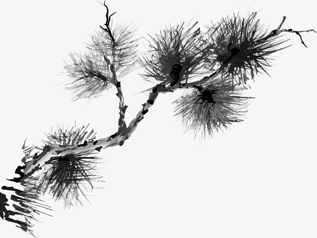 水墨松树松枝中国风国画矢量图素材图片免费下载 高清psd 千库网 图