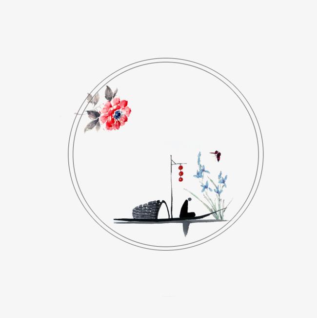 彩绘圆圈 古风圆圈 手绘花卉古风人物圆形边框 牡丹彩绘圆圈 古风