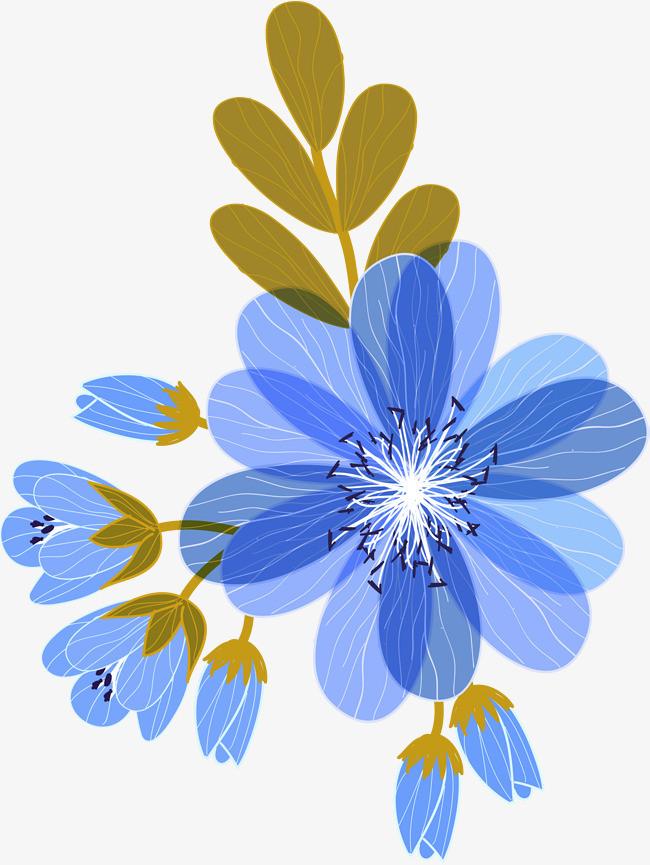蓝色手绘花朵_png素材免费下载_ 2000*2657像素(编号