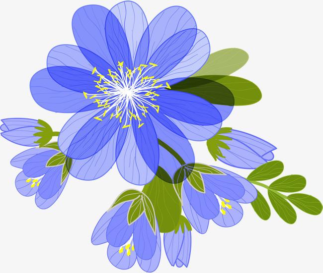 蓝色手绘花朵_png素材免费下载_ 2000*1693像素(编号