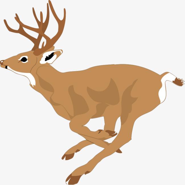 卡通 手绘 水彩 动物 麋鹿 奔跑 鹿角 可爱png免费下载