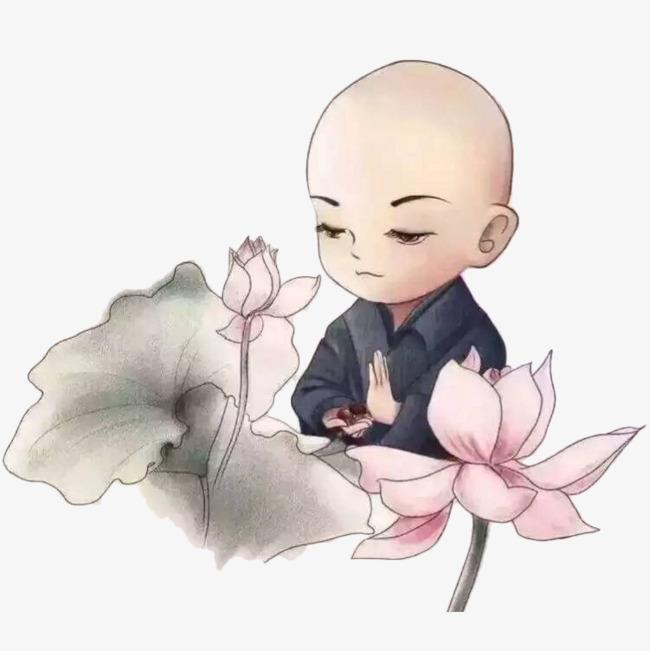 国风手绘水墨小和尚和莲花手绘小和尚小沙弥小和尚插画卡通小和尚