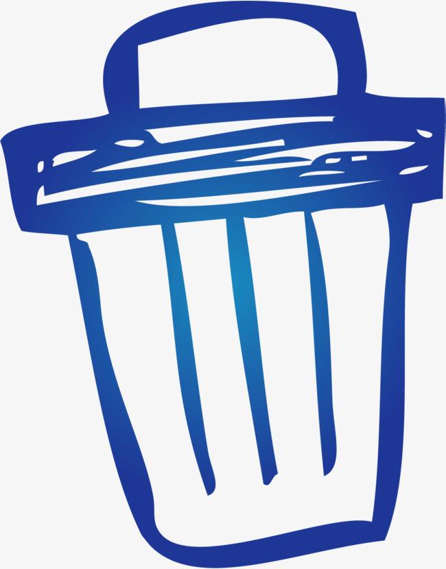 手绘蓝色垃圾桶