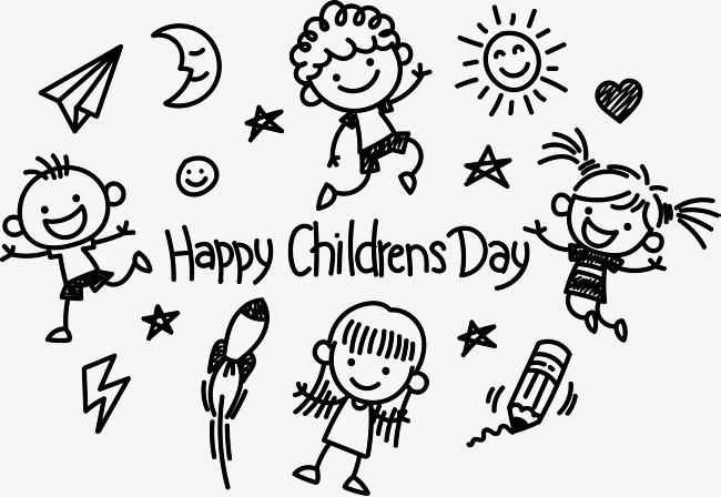 手绘简笔画风格儿童节素材图片免费下载 高清psd 千库网 图片编号8736468