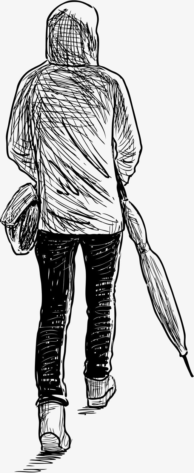手绘男人背影