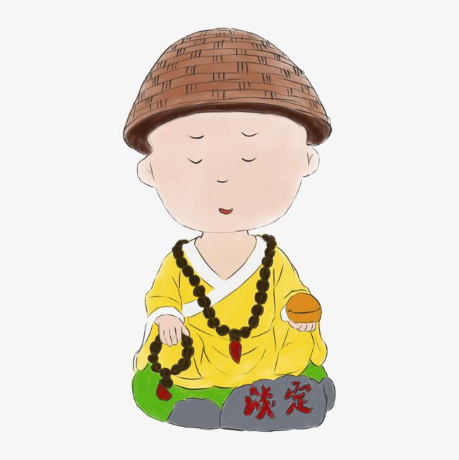 手绘打坐的小和尚手绘小和尚小和尚卡通小和尚小沙弥打坐淡定佛珠木