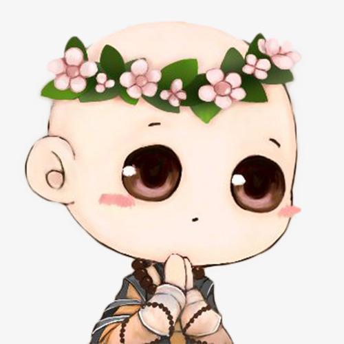 手绘萌萌的戴花环的小和尚