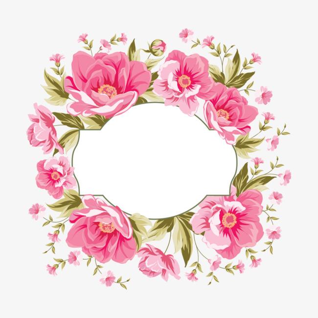 水彩手绘花朵花环图案装饰