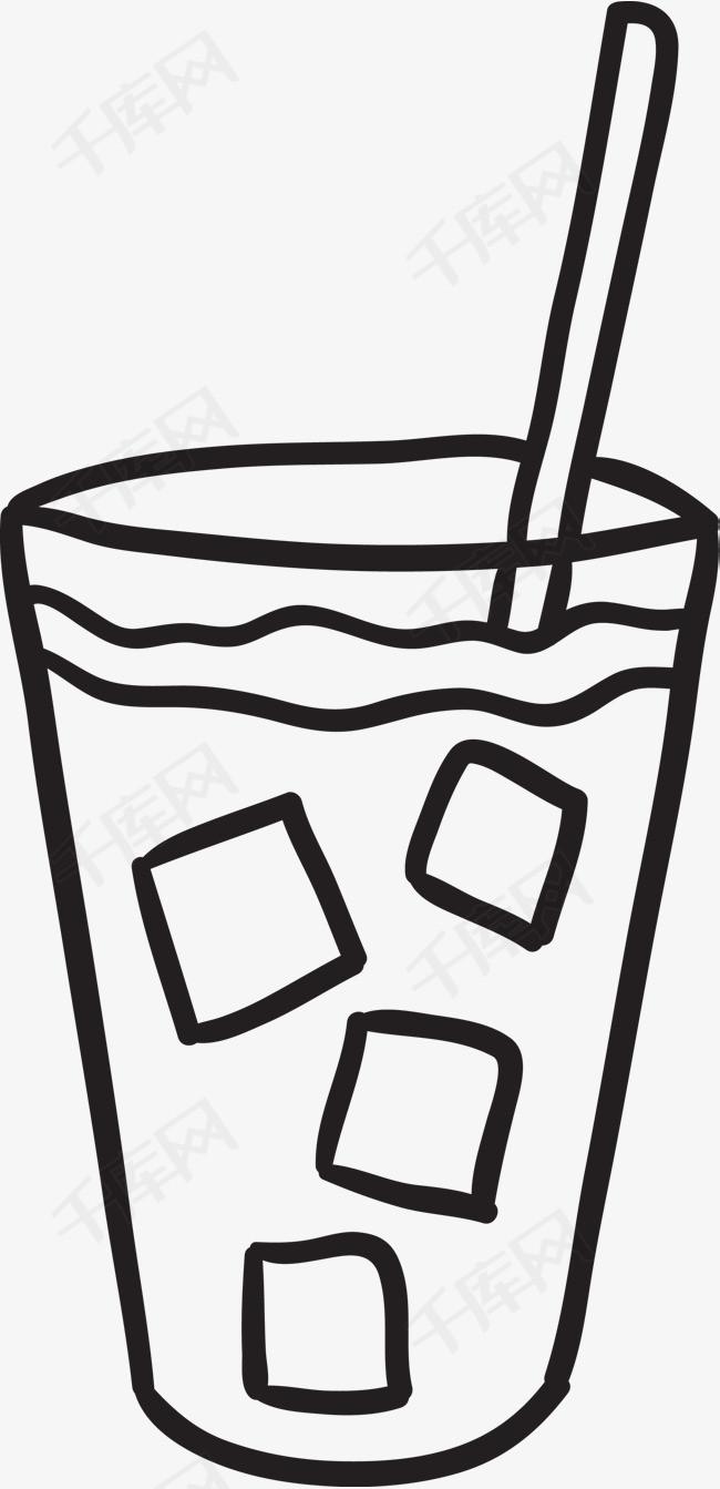 手绘简笔画冰咖啡素材图片免费下载_高清psd_千库网