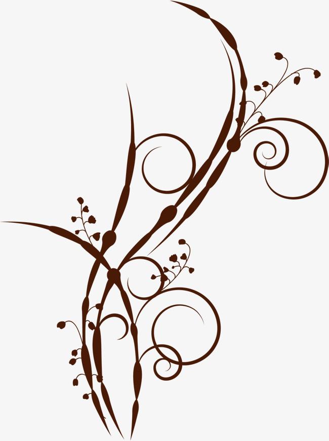 手绘棕色藤蔓