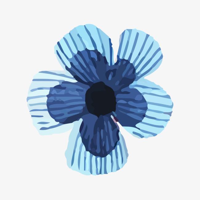 蓝色手绘花朵_png素材免费下载_ 1200*1200像素(编号