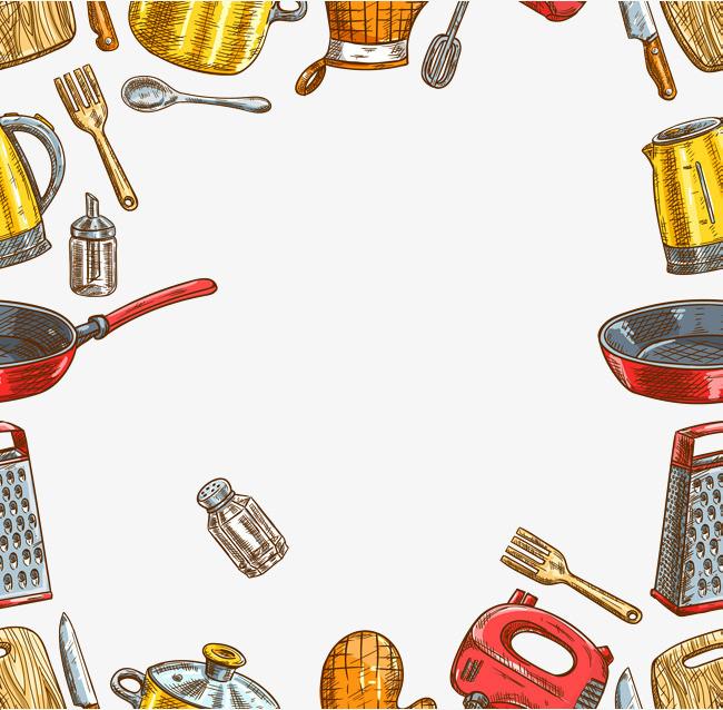 矢量卡通手绘厨房器具边框png