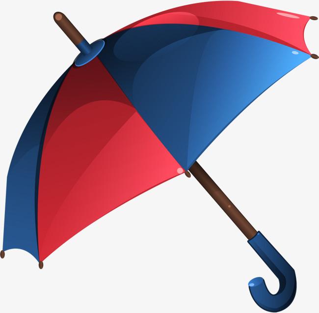 手绘蓝色雨伞