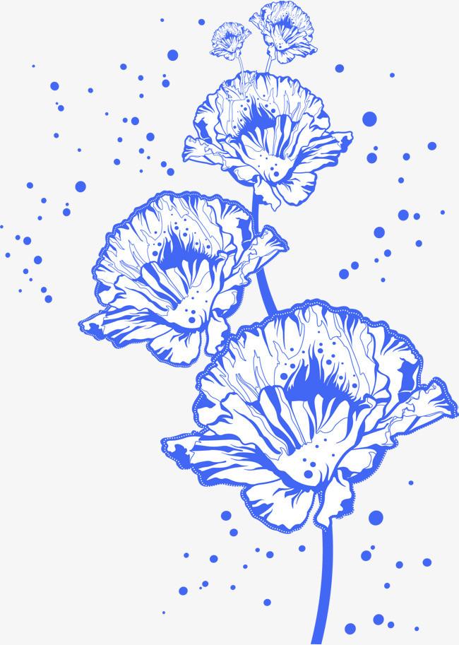 手绘蓝色花朵_png素材免费下载_ 1411*1980像素(编号