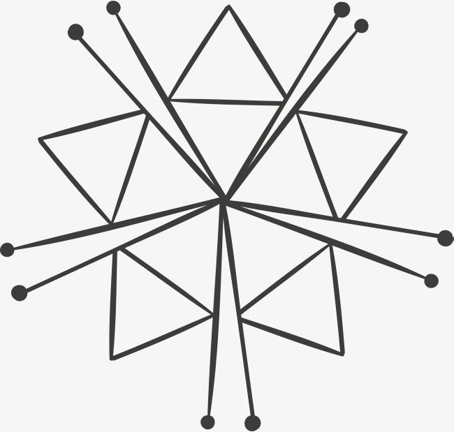 创意五角星手绘线条